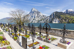 Cemetery at the Parish Church in Traunkirchen Stock Photography