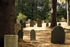 Cemetery At Peace. 18th century New England cemetery with a soft carpet of pine needles Stock Photos
