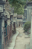 Cemetery Pere Lachaise. In Paris, graves and sculptures royalty free stock images
