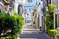 Cemetery Recoleta in Buenos Aires in summer royalty free stock photography