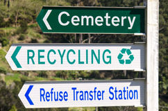 Cemetery and Recycling Station Street Signs Stock Photos