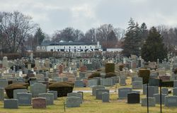 Cemetery in Rhode Island on cloudy day