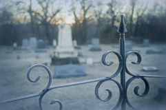 Cemetery Ridge. Cemetery in the early morning with heavy frost Royalty Free Stock Image