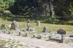 Cemetery at Rottnest Island. ROTTNEST ISLAND,WA,AUSTRALIA-OCTOBER 16,2016: Head stone markers in natural coastal reserve at Rottnest Cemetery on Rottnest Island Stock Photo