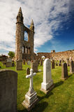 Cemetery of Saint Andrews. This picture shows the cemetery of Saint Andrews in Scotland. The cemetery is located at the site of the ruins of the old cathedral Royalty Free Stock Images
