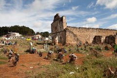 The cemetery of San Juan Chamula, Chiapas, Mexico. The cemetery and the San Sebastian Church of the Tzotzil village San Juan Chamula, a municipality near San royalty free stock photos