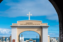 Cemetery in San Juan Puerto Rico. Arch entrance with cross on top stock photo