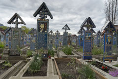 Cemetery Sapanta town  in Romania Royalty Free Stock Photo