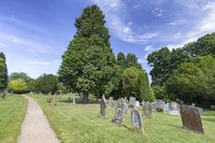 English Grave Yard. Cemetery at the Saxon Sanctuary Church in Wootton Wawen, England stock images