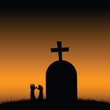 Cemetery scary art color vector Royalty Free Stock Images