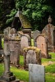 Cemetery, scotland historical gravestones with plant. Tips for travel, photography in summer Stock Images
