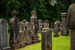 Cemetery, scotland historical gravestones with plant. Tips for travel, photography in summer Royalty Free Stock Image