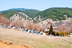 Cemetery in Serbian village Royalty Free Stock Photography