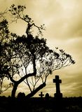 Cemetery silhouette Royalty Free Stock Photos