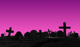 Cemetery silhouette. Halloween 3d illustration Stock Image
