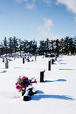 Cemetery with snow Royalty Free Stock Photography