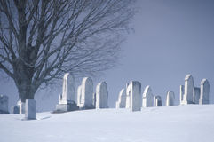 Cemetery in the snow Royalty Free Stock Photo