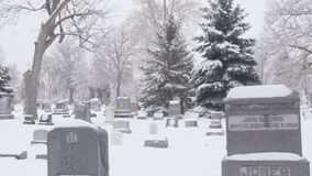 Cemetery in Snow Vehicle Mount Stock Image