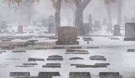 Cemetery in snow. In winter Royalty Free Stock Images
