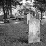 Cemetery St Augustine Florida. Graveyard in black and white with headstones without names stock images