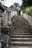 Cemetery and stairs to a japanese temple stock photos