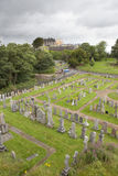 Cemetery in Stirling. Scotland, UK, with a view of Stirling castle Stock Photography