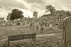 Cemetery in Stirling. Scotland, UK, with a view of Stirling castle Stock Image