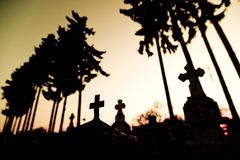 Cemetery at sunset. With tombstones and trees silhouetted against sky royalty free stock images