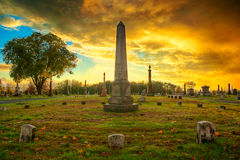 Cemetery Sunset Stock Photo