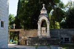 Cemetery at Supetar, Croatia. Cemetery at Supetar on the island of Brač, Croatia stock photo