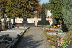Cemetery. SVIADNOV, CZECH REPUBLIC – OCTOBER 17: various decorated graves on the cemetery in Sviadnov, Czech Republic, October 7, 2017 Stock Photo
