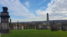 Cemetery with tombs and monuments. Glasgow cemetery with tombs and monuments Stock Photos
