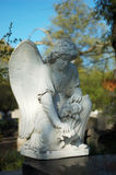 Cemetery tombstone. Angel - cemetery tombstone; sunlight; fall Royalty Free Stock Image