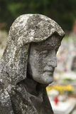 At the cemetery. A tombstone statue in the cemetery in Zblewo, Poland stock photos