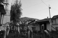 Cemetery with Tombstones in Sarajevo, Bosnia and Herzegovina. Cemetery with Tombstones in Sarajevo, Bosnia & Herzegovina Royalty Free Stock Photos