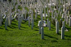 Cemetery with Tombstones in Sarajevo, Bosnia and Herzegovina. Cemetery with Tombstones in Sarajevo, Bosnia & Herzegovina Stock Photo