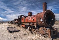 Cemetery of trains, Uyuni, Bolivia stock photo