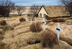 Cemetery at Turf church at Hof in Iceland Royalty Free Stock Image