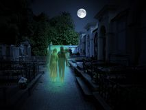 Cemetery with two ghosts in the moonlight. Abandoned cemetery with two ghosts in the moonlight. Blooming chestnuts, big tombs and full moon stock photography