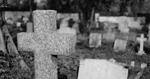 View of an old English cemetery showing thew various styles of gravestones. Stock Photography