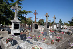 Cemetery under a blue sky. A Cemetery under a blue sky stock photo