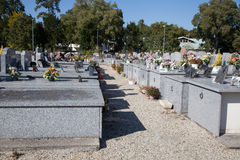 Cemetery under a blue sky Royalty Free Stock Images