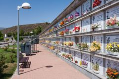 Cemetery with vaults and flowers at La Palma Island, Spain Royalty Free Stock Photos