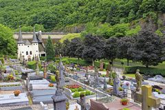 Cemetery in Vianden, Luxembourg. Panorama of cemetery in Vianden, Luxembourg Royalty Free Stock Photos