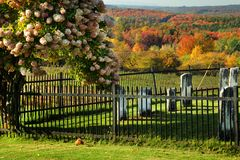 Cemetery. View of cemetery during fall season Stock Images