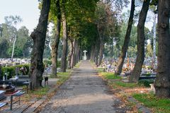 Cemetery, view of the gravestones in the autumn royalty free stock image