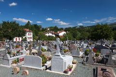 Cemetery in the village of the Basque, France Stock Image