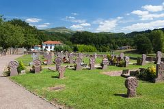 Cemetery in the village of the Basque, mountains Royalty Free Stock Photo