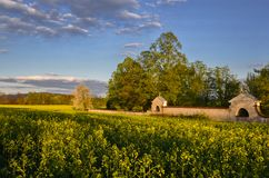 The cemetery wall. End of the spring day in fields outside of town near the cemetery wall Stock Photography