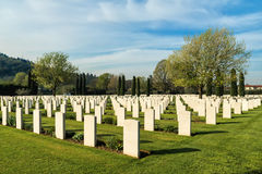 Cemetery of war. An international war cemetery near the city of Florence where lie some of the fallen of World War II Royalty Free Stock Image